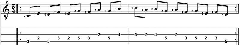 Gitarrenübung in C-Dur in Terzen