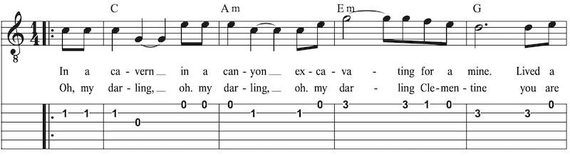Gitarre lernen ohne Gesang Clemetine
