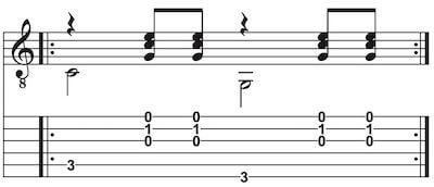 Country Rhythmus mit Wechselbass