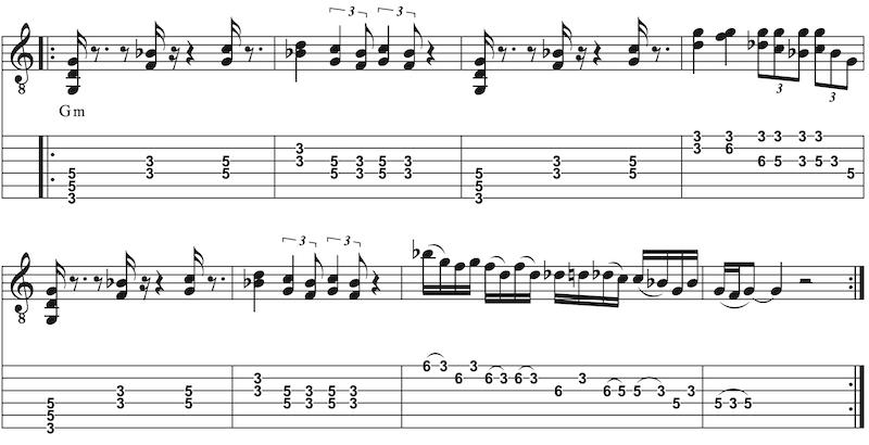 Orgel-Rock-Groove auf Gitarre