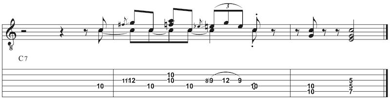 Orgel Blueslick auf Gitarre