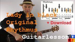Gitarre lernen online – Rock-Klassiker – Lady in black Rhythmus – Anschlag