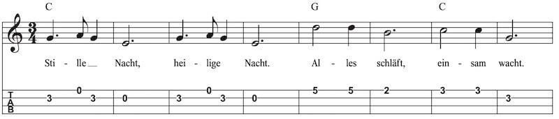 Stille Nacht, heilige Nacht Melodie Ukulele