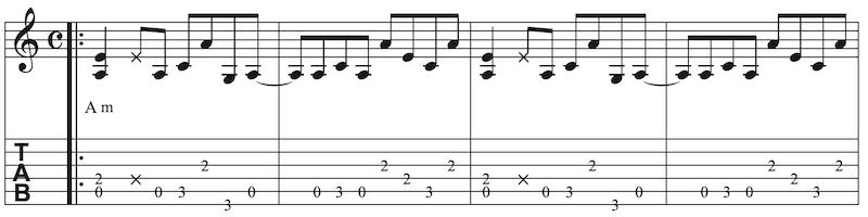 Blues Gitarre lernen Zeile 2